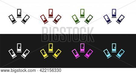 Set Cartridges Icon Isolated On Black And White Background. Shotgun Hunting Firearms Cartridge. Hunt