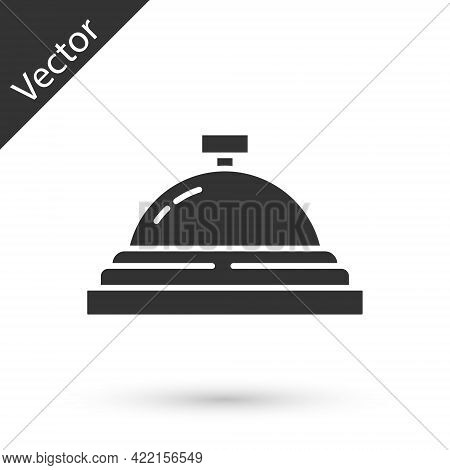 Grey Hotel Service Bell Icon Isolated On White Background. Reception Bell. Vector