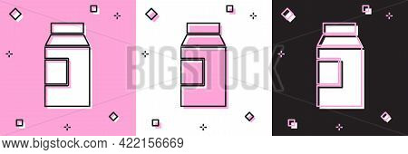 Set Paper Package For Milk Icon Isolated On Pink And White, Black Background. Milk Packet Sign. Vect