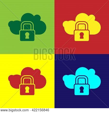 Pop Art Cloud Computing Lock Icon Isolated On Color Background. Security, Safety, Protection Concept