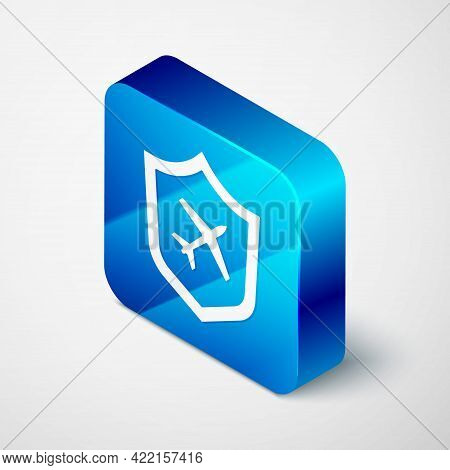 Isometric Plane With Shield Icon Isolated On Grey Background. Flying Airplane. Airliner Insurance. S