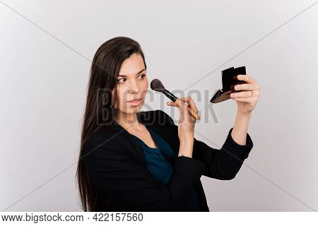 Cosmetologist Beautician Holding A Tool In Her Hands, Permanent Makeup Master, Permanent Makeup