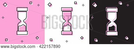 Set Old Hourglass With Flowing Sand Icon Isolated On Pink And White, Black Background. Sand Clock Si