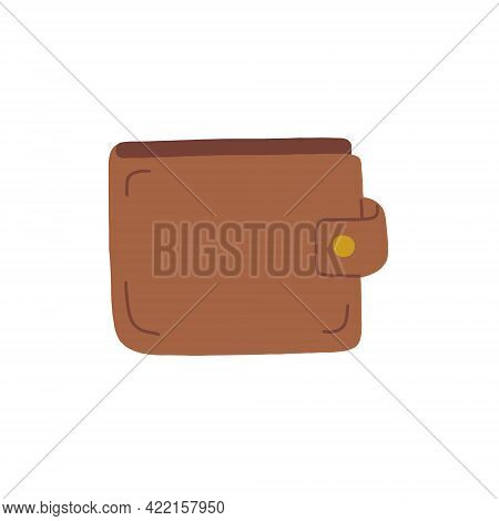 Brown Leather Wallet. Financial Literacy. Vector Isolated Fully Editable Illustration On White Backg