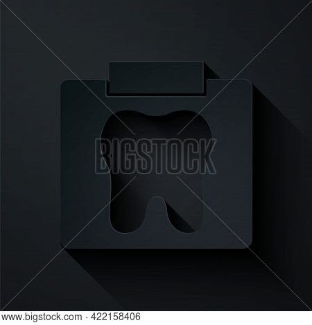 Paper Cut X-ray Of Tooth Icon Isolated On Black Background. Dental X-ray. Radiology Image. Paper Art