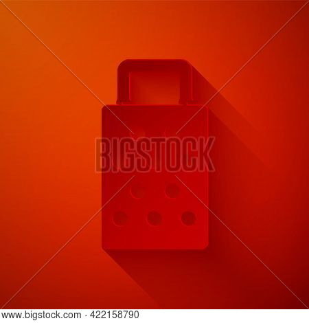 Paper Cut Grater Icon Isolated On Red Background. Kitchen Symbol. Cooking Utensil. Cutlery Sign. Pap