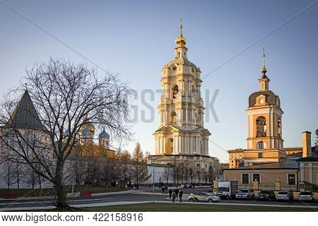 Moscow, Russia - April 5, 2021: Novospassky Monastery (new Monastery Of The Saviour,) Is One Of The