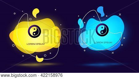 Black Yin Yang Symbol Of Harmony And Balance Icon Isolated On Black Background. Abstract Banner With