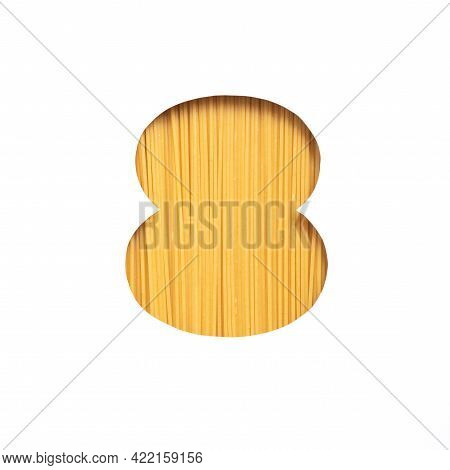 Number Eight Of Pasta Spaghetti, White Cut Paper In Shape Of Eighth Numeral. Typeface For Grocery Or