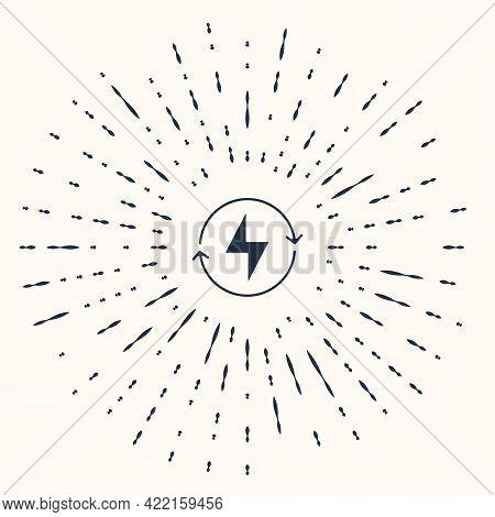 Grey Lightning Bolt Icon Isolated On Beige Background. Flash Sign. Charge Flash Icon. Thunder Bolt.