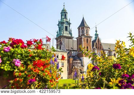 Beautiful View Of Wawel Royal Castle Complex In Krakow City, Poland. The Most Historically And Cultu