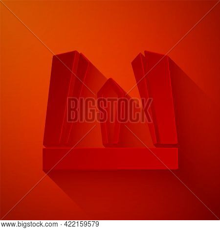 Paper Cut Gate Of Europe Icon Isolated On Red Background. The Puerta De Europa Towers. Madrid City,