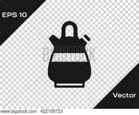 Black Sangria Pitcher Icon Isolated On Transparent Background. Traditional Spanish Drink. Vector