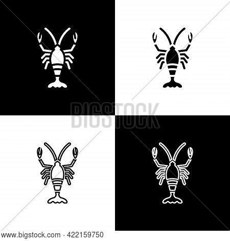 Set Lobster Icon Isolated On Black And White Background. Vector