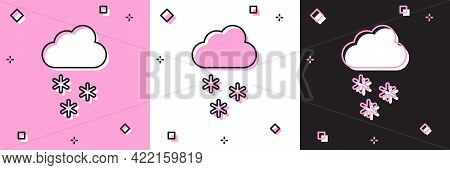Set Cloud With Snow Icon Isolated On Pink And White, Black Background. Cloud With Snowflakes. Single