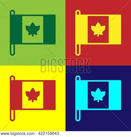 Pop Art Flag Of Canada Icon Isolated On Color Background. North America Country Flag On Flagpole. Ve
