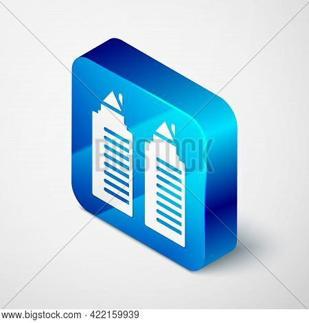 Isometric Two Tall Residential Towers In The Dnipro City Icon Isolated On Grey Background. Blue Squa