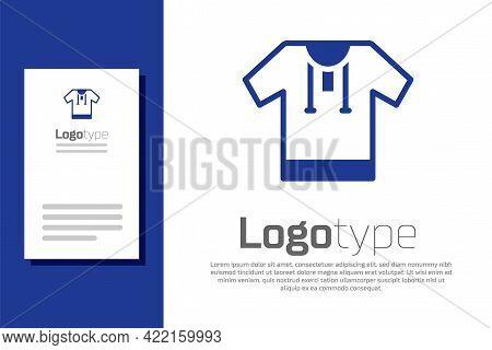 Blue Embroidered Shirt Icon Isolated On White Background. National Ukrainian Clothing. Logo Design T