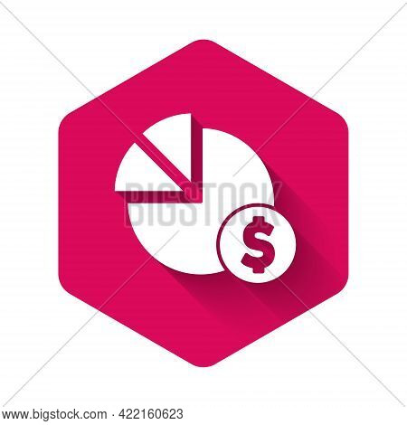 White Pie Chart Infographic And Dollar Symbol Icon Isolated With Long Shadow. Diagram Chart Sign. Pi
