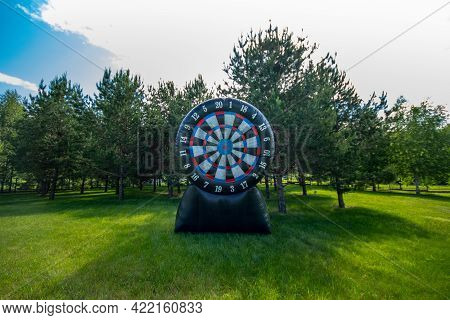 Large Inflatable Target Outdoor. Giant Darts In The Yard. Summer Leisure Activity Concept, Copy Spac