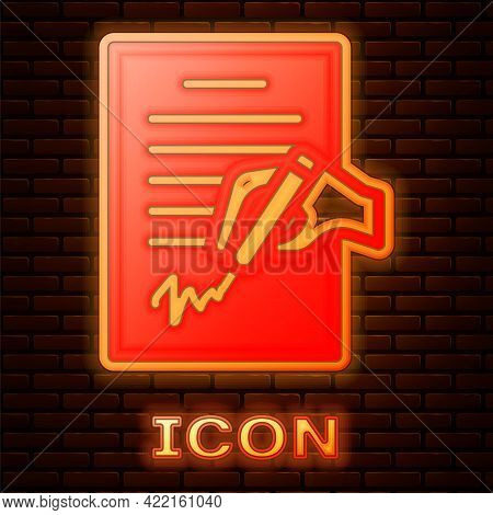 Glowing Neon Petition Icon Isolated On Brick Wall Background. Vector