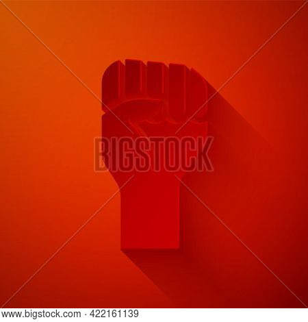 Paper Cut Raised Hand With Clenched Fist Icon Isolated On Red Background. Protester Raised Fist At A