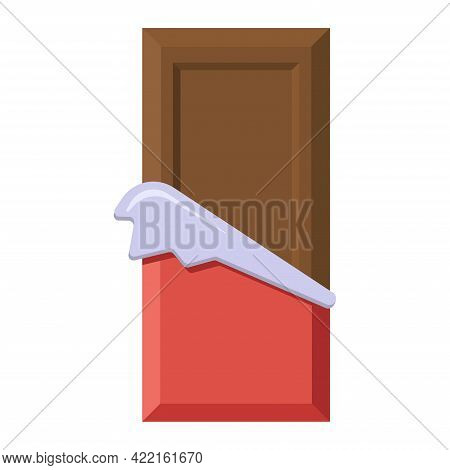 Milk Chocolate Bar In Opened Red Wrapper And Foil. Sweet Cacao Snack Isolated Vector Illustration. F