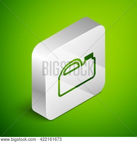 Isometric Line Plastic Canister For Motor Machine Oil Icon Isolated On Green Background. Oil Gallon.