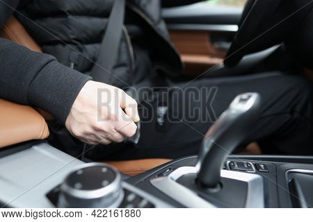 Fastened Driver Sits In Car With Automatic Transmission