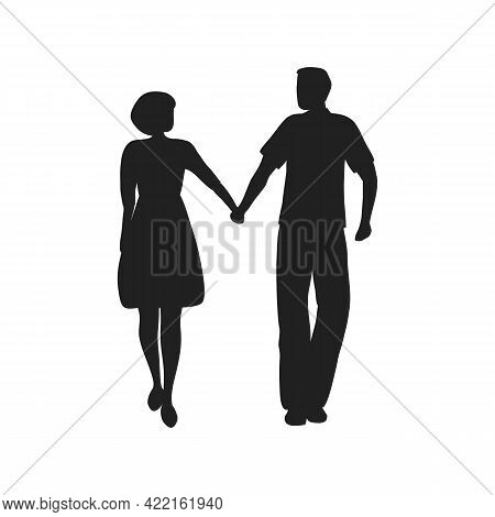 Silhouettes Of A Guy And A Girl. A Young Couple Is Walking Holding Hands. Valentine's Day Concept. V