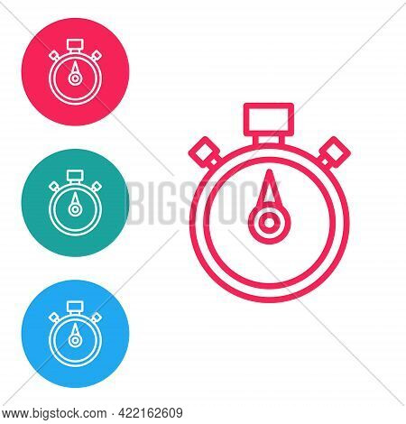 Red Line Stopwatch Icon Isolated On White Background. Time Timer Sign. Chronometer Sign. Set Icons I