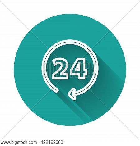 White Line Clock 24 Hours Icon Isolated With Long Shadow. All Day Cyclic Icon. 24 Hours Service Symb