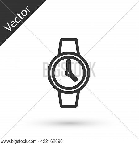 Grey Line Wrist Watch Icon Isolated On White Background. Wristwatch Icon. Vector