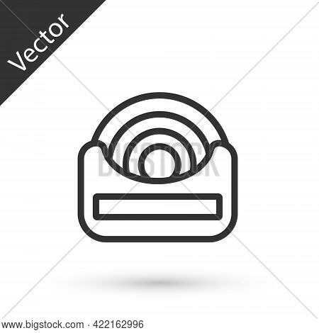 Grey Line Dental Floss Icon Isolated On White Background. Vector