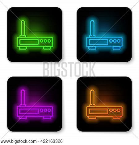 Glowing Neon Line Router And Wi-fi Signal Icon Isolated On White Background. Wireless Ethernet Modem