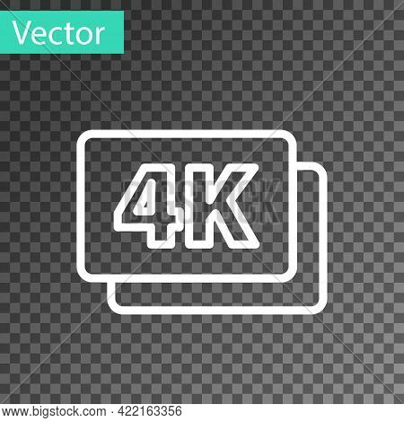 White Line 4k Ultra Hd Icon Isolated On Transparent Background. Vector