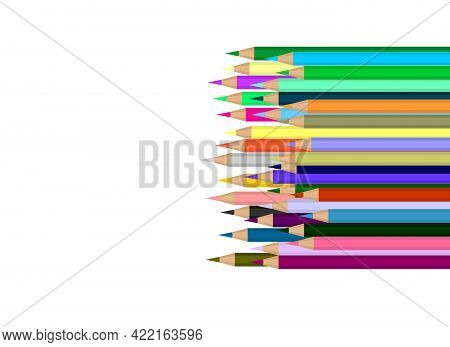 Vector Illustration Of New Colored Pencils Lying In A Heap. Many Pencils On Top Of Each Other
