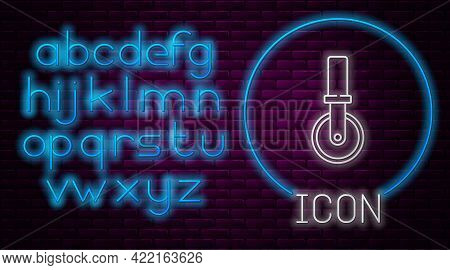 Glowing Neon Line Pizza Knife Icon Isolated On Brick Wall Background. Pizza Cutter Sign. Steel Kitch