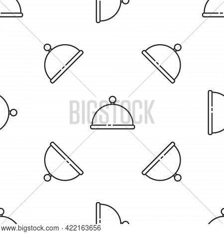 Grey Line Covered With A Tray Of Food Icon Isolated Seamless Pattern On White Background. Tray And L
