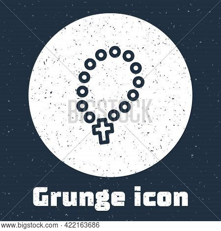 Grunge Line Rosary Beads Religion Icon Isolated On Grey Background. Monochrome Vintage Drawing. Vect