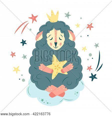Nursery Vector Illustration In Cartoon Style. Cute Sheep Sleeping On Cloud With Big Star And Crown.