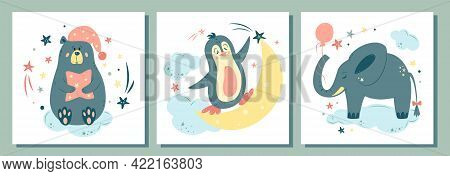 Big Set Of Nursery Vector Illustration. Cute Animals In Cartoon Style. For Baby Room, Baby Shower, G