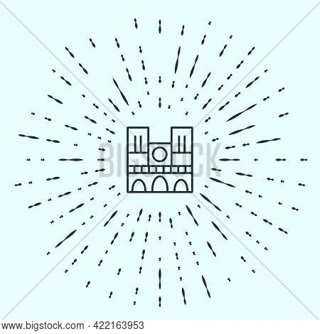 Black Line Landmark Of France Notre Dame De Paris Icon Isolated On Grey Background. Abstract Circle