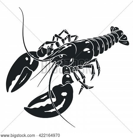 Lobster Vector Silhouette Isolated On White Background