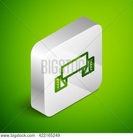 Isometric Line Traditional Ukrainian Embroidered Towel Icon Isolated On Green Background. Silver Squ