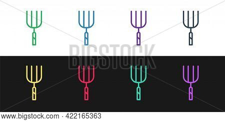 Set Line Garden Pitchfork Icon Isolated On Black And White Background. Garden Fork Sign. Tool For Ho
