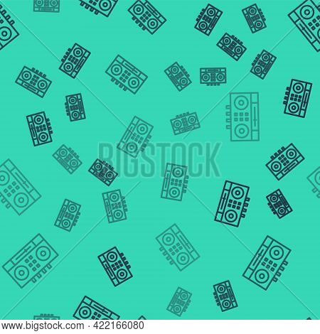 Black Line Dj Remote For Playing And Mixing Music Icon Isolated Seamless Pattern On Green Background