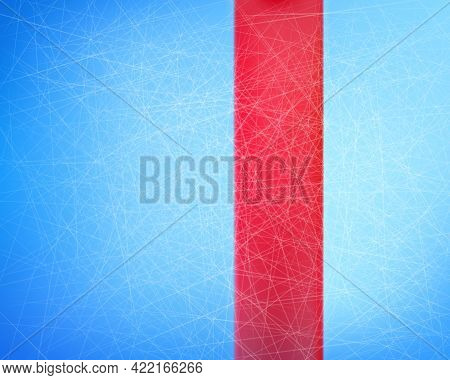 Vector Of Blue Ice Background With Traces From Skates With Red Line, Top View. Winter Team Game On S