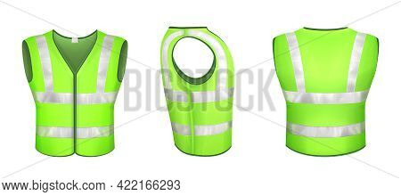 Green Safety Vest With Reflective Stripes, Uniform For Road Workers, Construction Works Or Drivers.