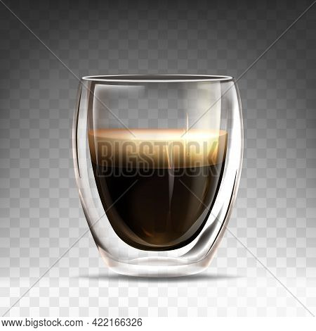 Realistic Glossy Glass Cup With Hot Espresso. Mug Mug With Double Wall Full Of Aroma Americano. Coff